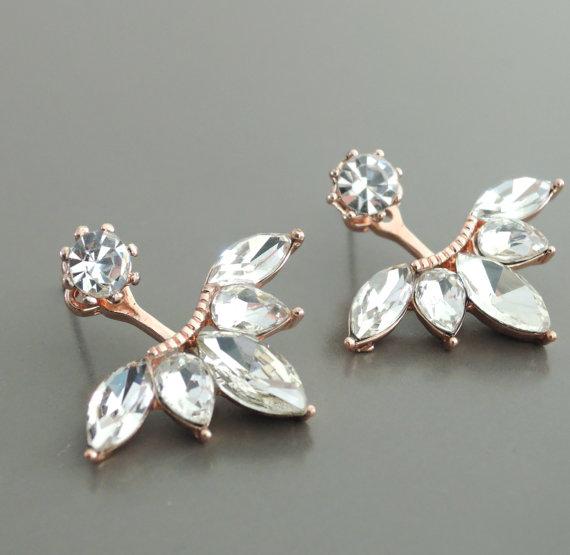 Ear Jackets Jacket Earrings Rose Gold Crystal Stud Bridal