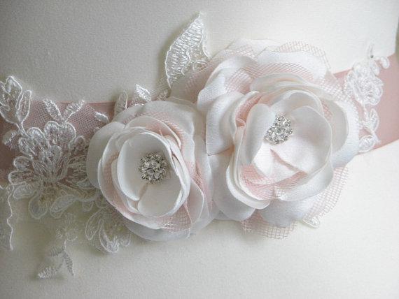 Свадьба - Ivory sash Blush sash Blush ivory sash Blush wedding Blush ribbon Ivory pink sash Blush ivory lace sash Blush bridesmaid sash Blush bridal