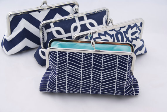 Wedding - Personalized Bridesmaids Gift Handbag Clutch in Blue Design your Own Wedding Party Gift Clutch Handbag