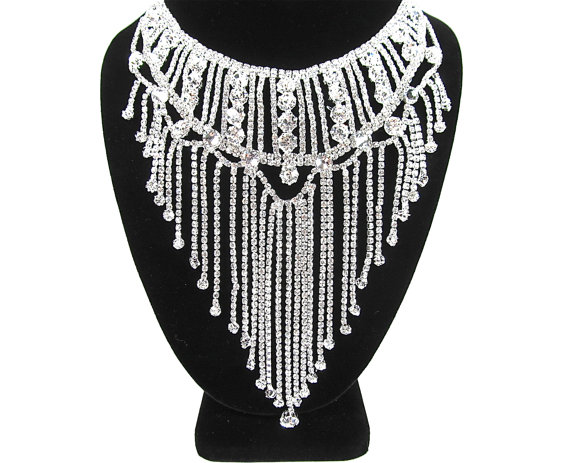 Mariage - Crystal Rhinestone Waterfall Bridal Statement Necklace Wedding Necklace
