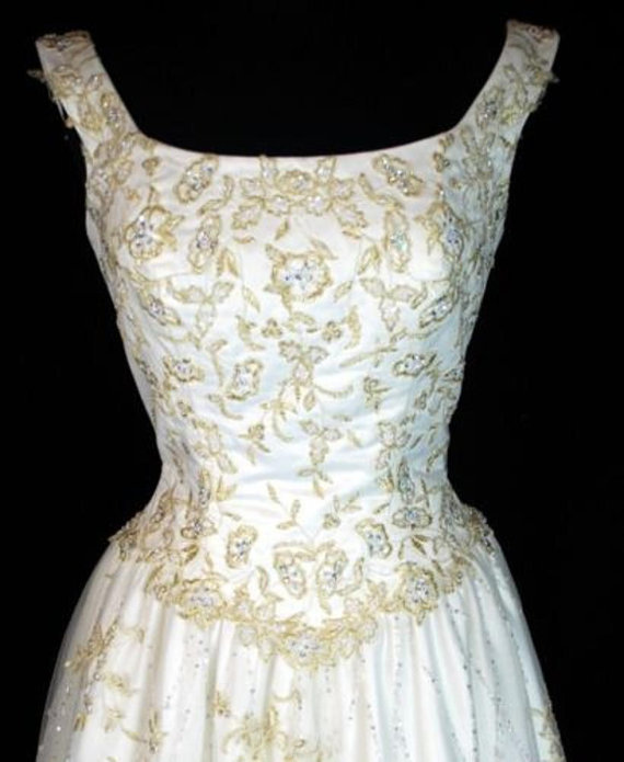 VINTAGE Gold Embroidery Lace FLORAL Ivory Satin Bead Sequin Organza ...