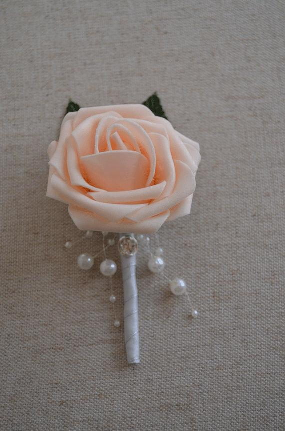 Peach Garden Rose Boutonniere peach blush rose & ribbon boutonniere with pearls, bling gem