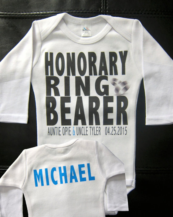 Свадьба - Personalized HONORARY ring bearer t-shirt or onesie wedding getting married bride groom