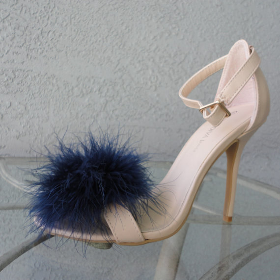 Mariage - Navy Blue Feather Puff Pom Pom Shoe Clips  Set of Two