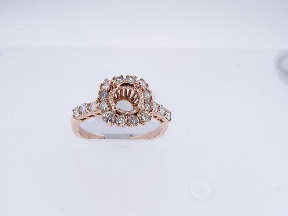Wedding - 14K Rose Gold Diamond Engagement Ring Halo Design - SJ1600RGDERPP