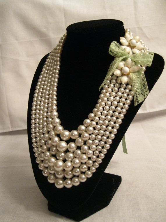 Mariage - Simple Elegance- Vintage Pearl Bead Necklace With Green Ribbon Tie