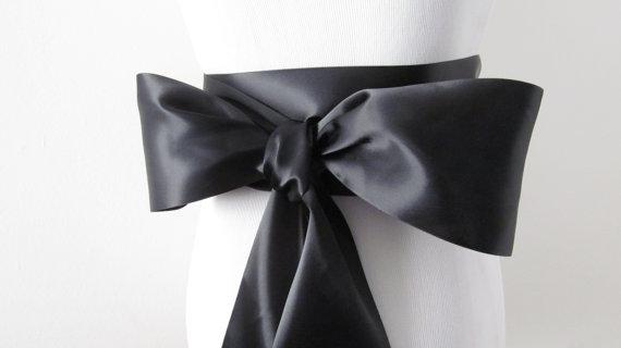 Mariage - Black Ribbon Sash / Double Faced Ribbon Sash / Bridal Sash / Bridal Ribbon / Black