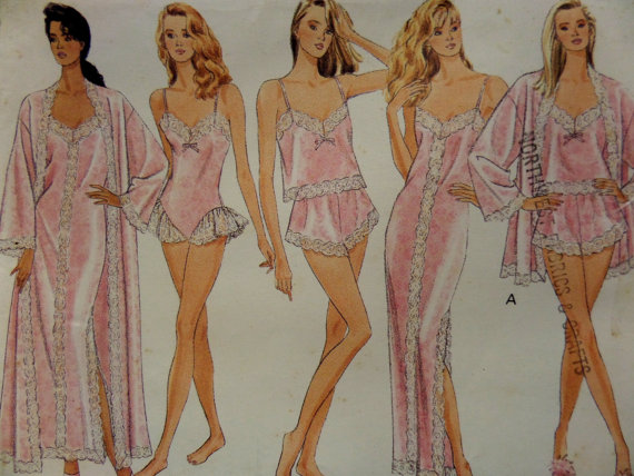 Свадьба - 1988 Lace-Trimmed Cami ~ Panties ~ Teddy ~ Robe & Gown Pattern ~ Butterick 6985 Miss L-XL. Sexy BRIDAL LINGERIE Pattern at WhiletheCatNaps