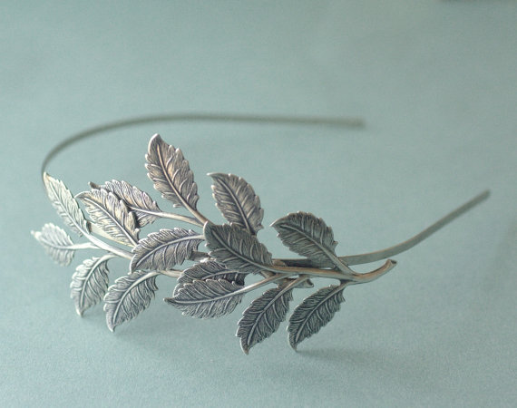 Mariage - Leaf headband bridal silver leaves head piece neoclassical branch Grecian goddess nature wedding hair