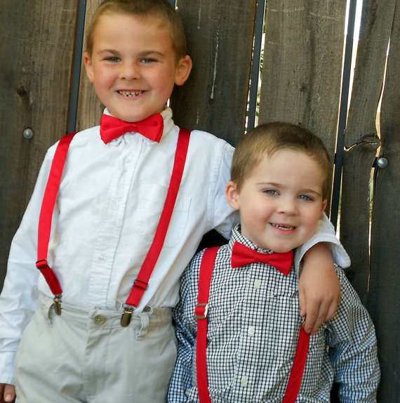 Mariage - Red Bowtie and Suspender Set - Infant, Toddler, Boy