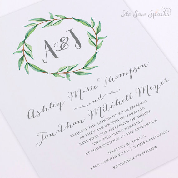 Printable Wedding Invitation Watercolor Monogram Wreath With – Wedding Invitation Monograms