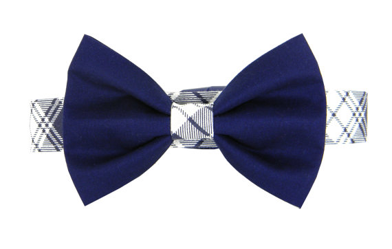 Свадьба - Navy Plaid Bow Tie Dog Collar Set/ Classic Dog Bow Tie Collar: Navy Plaid