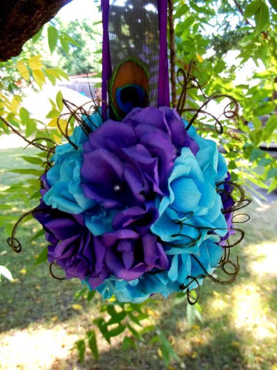 زفاف - Wedding Kissing Ball, Bridal Pomander, Wedding Decor, Peacock Bouquet, Peacock Wedding, Bridal Kissing Ball, Bridesmaids, Flower Girls