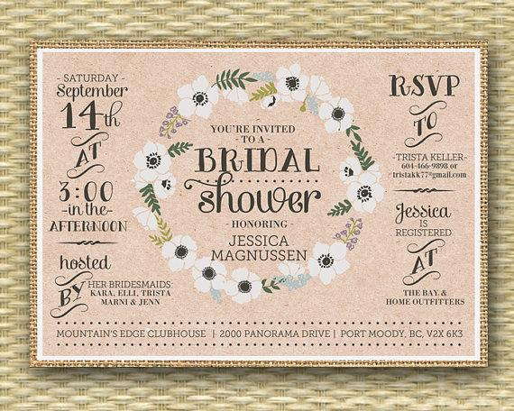 Wedding - Rustic Burlap Bridal Shower Invitation Floral Wreath Floral Bridal Shower Invite Typography, Any Event