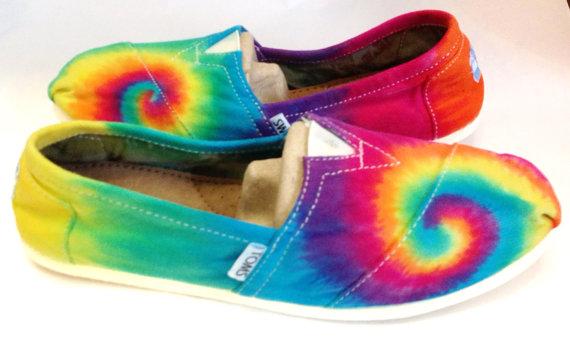 Wedding - Rainbow Tie-dye TOMS Shoes, Custom Women's