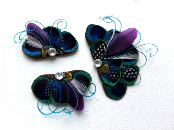 Mariage - RIO Wedding Package - One Bridal Hair Piece and Two Bridesmaids Pieces, Peacock Blue and Purple Feather Hair Clip, Bridal Hair Piece