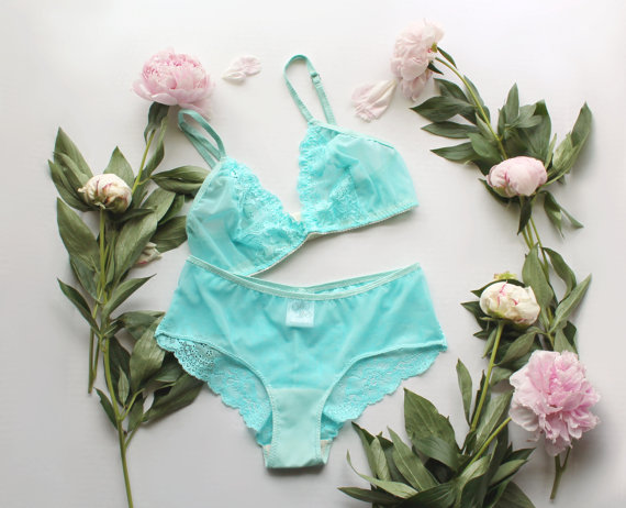 Hochzeit - Aqua Sheer Lingerie Set 'Oceanic' Lace and Mesh Blue Triangle Bra and Panties Handmade by Ohh Lulu