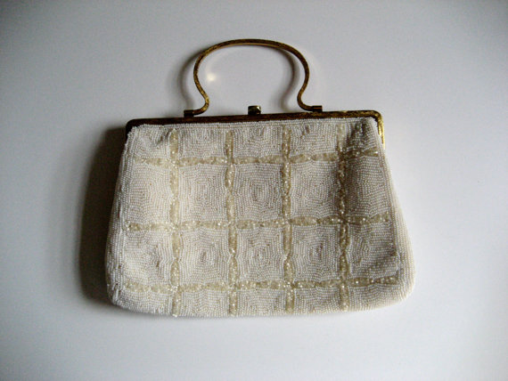 Mariage - Vintage hand beaded evening bag purse handbag. Convertible clutch. Made in Belgium for Saks Fifth Avenue. Wedding. Party.
