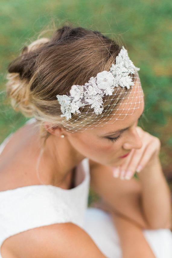 Mariage - Petite Wedding veils, beaded Birdcage veil , petite birdcage band- OCEANE
