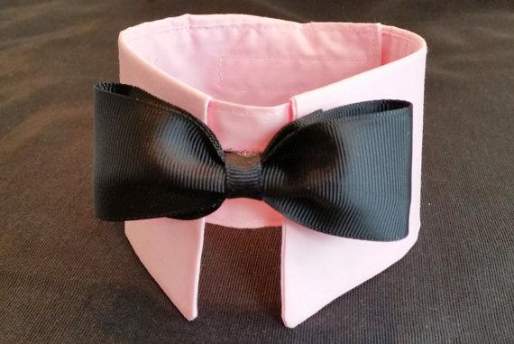 Свадьба - Pink Dog Collar Bow Tie. Male Dog Bow Tie Dog Collar  Boy Dog Collar Dog Wedding Tuxedo.