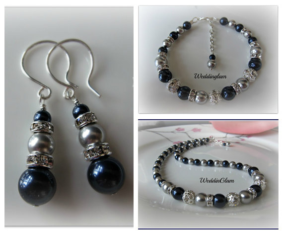 Mariage - Bridesmaid jewelry set. Silver Grey Navy Blue Bridesmaid gift Bridal party. Classic mother of bride complete jewelry set