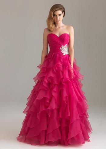Düğün - Fuchsia Night Moves 6400 Strapless Ruffle Ball Gown Cheap