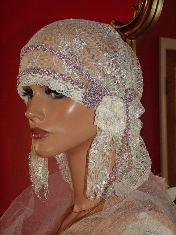 Mariage - Wedding Flapper Hat Cloche Hat 1920 Style Bridal Antique White Silver Metallic Lace