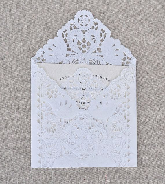 Wedding - DIY Lace Envelope Kit. Wedding Invitation Envelope Liners. Paper Lace, Custom Template, And Adhesive Included