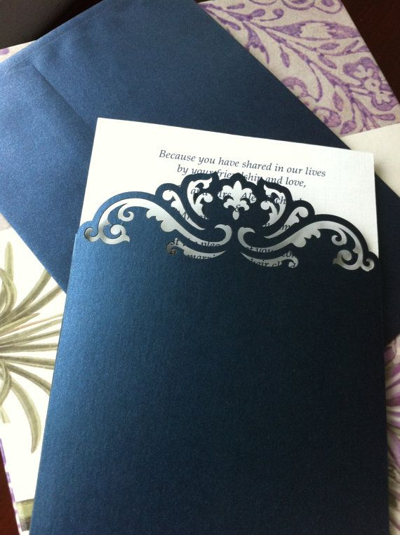 Hochzeit - Custom Luxury Pocket Invitations, Custom Die Cut Wedding Invitations, Custom Lasercut Invitations