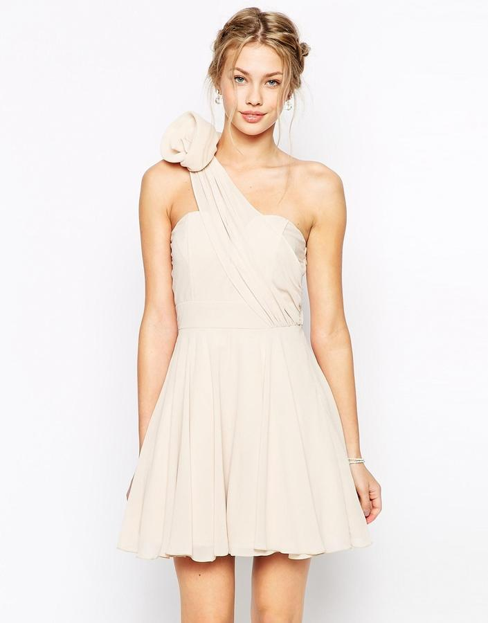 Wedding - TFNC Prom One Shoulder Dress With Corsage Detail
