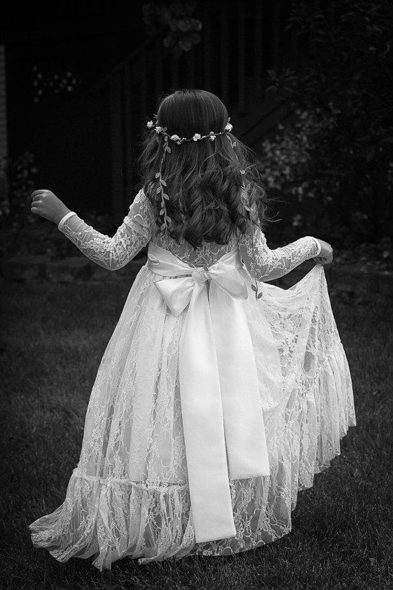 Wedding - Lace Flower Girl Dress, Girls Lace Maxi Dress, Girls Rustic Dress, Communion Dress, Long Sleeve Flower Girl Dress, Girls Boho Dress