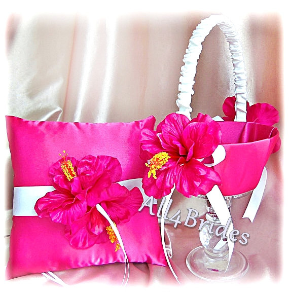 Hot pink hibiscus wedding ring bearer pillow and flower girl basket hot pink hibiscus wedding ring bearer pillow and flower girl basket spring summer wedding accessories mightylinksfo Images