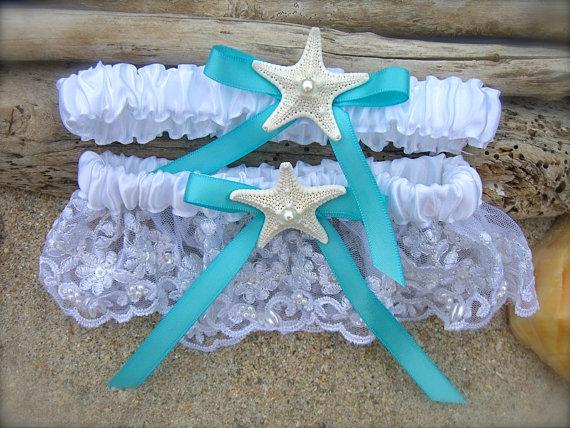 Wedding - Beach Wedding Starfish Garter Set,SOMETHING AQUA BLUE, Lingerie Garter,Destination Weddings, Mermaids, Mint Aqua,Turquoise Blue