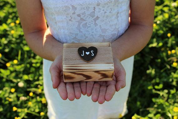 Wood Ring Box Rustic Torched Ring Bearer Box Ring Keepsake Box