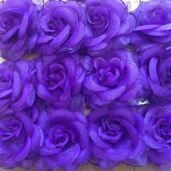 "Mariage - 12 PC purple flower 3"" for hair accessories supplies. wedding bouquet . Wedding cake  , flower embellishment , hat, scarf , headband"