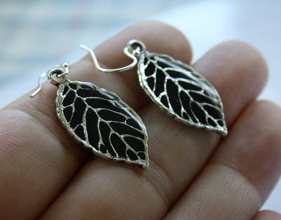 Mariage - Bridesmaid Earrings, Weddings, Leaf Earrings, Dangle, Teal, Silver, Gift For Her, Bridesmaid Jewelry, Gift For Girlfriend, Gift For Wife