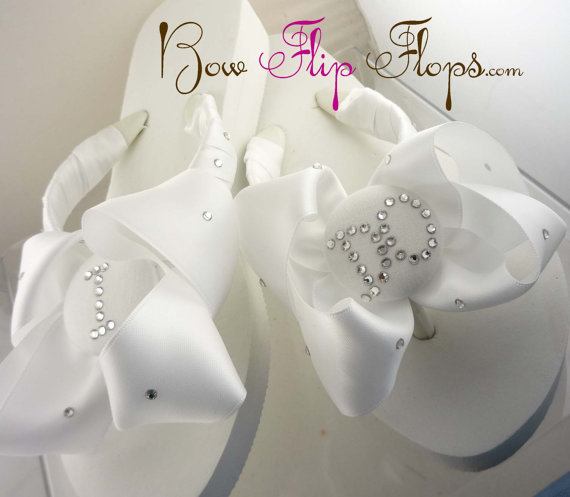 57ee0beea Bridal Flip Flops Wedding Flip Flops Ivory Wedge White Ribbon Bow Satin I  DO Bride Gift Sandals Platform Shoes monogrammed or rhinestone