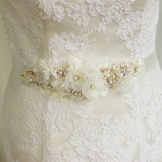 Flower Belts For Wedding Dresses: Wedding Belt Bridal Belt Wedding Dress Belts Sashes Floral