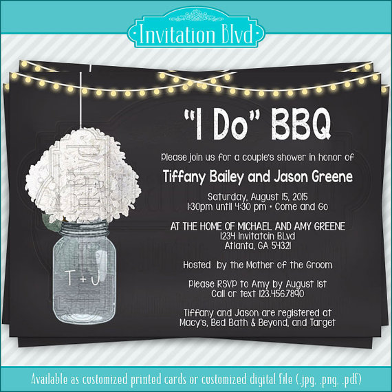 i do bbq chalkboard mason jar invitation couples shower barbecue invitation rehearsal dinner invitation bridal shower invitation