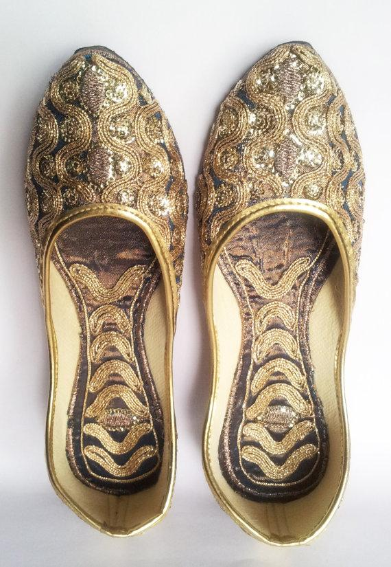 bc6977a7b515 US size 6 Champagne Shoes Women Ballet Flats Gold Embroidered Women Shoe Designer  Bridal Shoes Wedding Shoes Royal Styled Jooties Bridesmaid