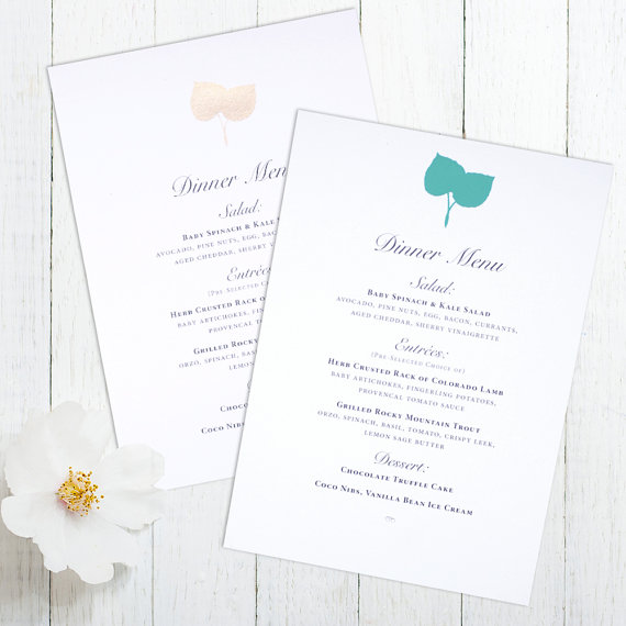 Hochzeit - Aspen Leaf Menu cards - Screen print in metallic gold and mint inks Aspen wedding eco friendly paper  - Reserved for Ashley