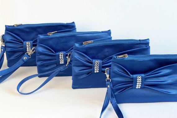 Mariage - Promotional sale   - SET OF 4 -Royal blue,Bow wristelt clutch,bridesmaid gift ,wedding gift ,make up bag,zipper