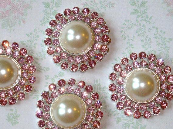 Hochzeit - 4 pieces - 25mm Silver Plated Metal Pink ROSE QUARTZ Crystal Pearl Rhinestone Buttons - wedding / hair / garment accessories Flower Center