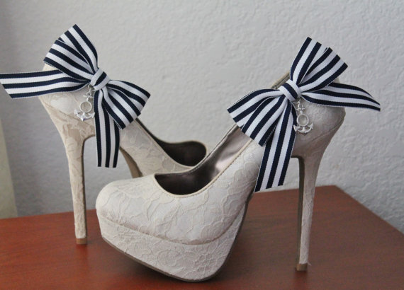 Mariage - Navy Striped Ribbon Bow and Anchor Shoe Clips - 1 Pair