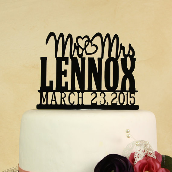 Wedding Cake Topper Mr. And Mrs. Personalized In Your Name With Date ...