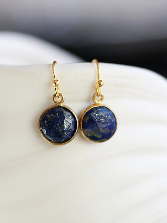 Mariage - Lapis Lazuli Stone Gold Dangle Earrings,  Earrings,Jewelry, Gold Earrings, Gold Faceted Earring,Wedding,Bridal, Bridesmaid Gift