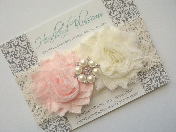 زفاف - SHOP BEST SELLER - Blush Pink and Ivory Chiffon Flower with Rhinestone Pearl Lace Headband - Newborn Baby - Wedding Flower Girl - Photo Prop