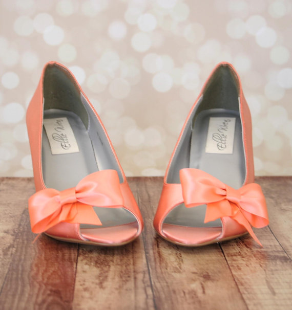Свадьба - Wedding Shoes -- Peach Peep Toe Wedge Wedding Shoes with Off Center Matching Bow on the Toe