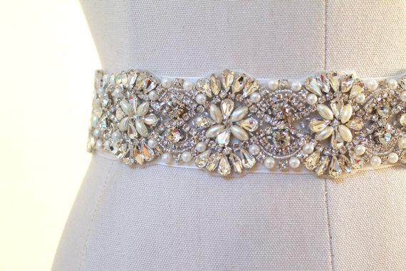 Mariage - Bridal beaded austrian crystal & pearl luxury sash.  Vintage style rhinestone wedding belt. DUCHESS PEARL