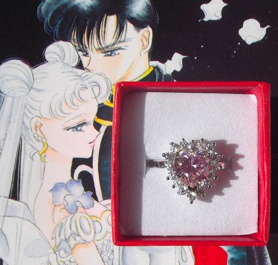 Свадьба - Sailor Moon Usagi Tsukino pink heart engagement ring size 6 7 8 9 / M O Q S